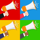Man & Woman Hand with Megaphone Royalty Free Stock Photography