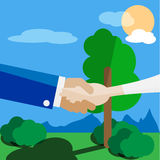 Man and woman hand to hand. Flat vector illustration Stock Images