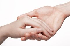 Man and woman hands. White man and woman hands royalty free stock images