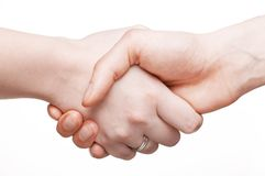 Man and woman hands. White man and woman hands stock images