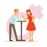 Man and woman with hands clasped arm wrestling, girlfriend confronts her boyfriend colorful characters vector Royalty Free Stock Photography