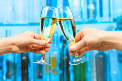 Man and woman hands with glasses of champagne Stock Images