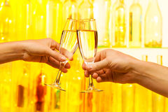 Man and woman hands holding champagne glasses Royalty Free Stock Photo