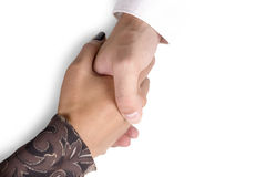 Man and woman hands. Man and woman shaking hands isolated on white Stock Image