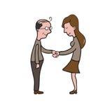 Man and woman handshake cartoon drawing 3 Stock Photo