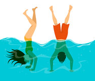 Man and woman have fun in swimming pool, diving and stand on arms in water stock illustration