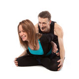 Man and woman have a rest during yoga Royalty Free Stock Image