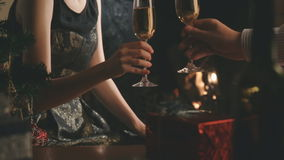 Man and woman having fun drinking champagne stock video footage