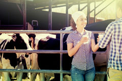 Man and woman having glass of fresh milk Royalty Free Stock Images