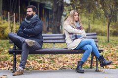 Man and woman having relationship problems royalty free stock photography