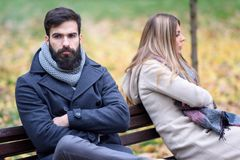 Man and woman having relationship problems. Man and women having relationship problems. Disagreement, divorce, relationship heading for a breakup stock images