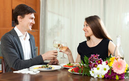 Man and woman having romantic dinne Stock Image