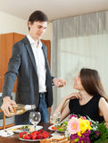 Man and woman having romantic dinner Royalty Free Stock Photography