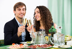 Man and woman having romantic dinner Royalty Free Stock Images