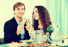 Man and woman having romantic dinner Stock Photo