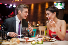 Man and woman having a romantic meal Stock Photography