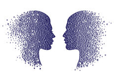 Man and woman head icons. Abstract couple face  with gradient circles Stock Photo