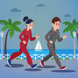 Man and Woman with Headphones Running on the Seaside Promenade. Under Rain. Vector illustration in flat style Stock Image