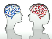 Man and woman heads, concept of difference. Man and woman faces profiles with brains, concept of difference Stock Photo