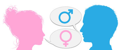 Man and woman heads talking. Silhouette man and woman heads talking with male and female sex symbol icons Stock Photo
