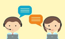 Man and woman in headset. Call center concept . Stock Photo