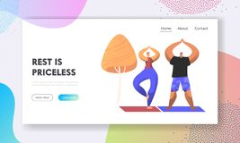 Man and Woman Healthy Lifestyle. Couple of Healthy People Doing Yoga Asana or Aerobics Exercise in City Park, Sport Activity. Website Landing Page, Web Page vector illustration