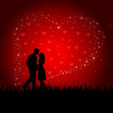 Man, Woman on Heart background Royalty Free Stock Image