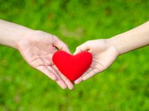 Man and woman heart shape hands hold the red heart. Couple, Love, Valentine`sDay Concept stock photos