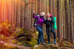 Man and Woman Hikers Staying in Dense Old Forest Smiling and Pointing Stock Photo