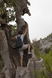 Man and woman hikers trekking roads in Turkey Royalty Free Stock Photography