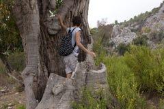 Man and woman hikers trekking roads in Turkey Stock Photo