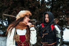 Man and woman in historical costumes royalty free stock photo
