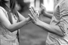 A dance at the festival. Man and woman hold hands, performing a dance at the festival Royalty Free Stock Photos