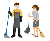 Man and woman holding cleaning supplies. Stock Images