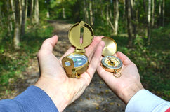 Man and woman holding compasses Stock Image