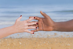 Man and woman holding each other's hand (symbol of love and diversity) Royalty Free Stock Photo