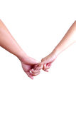 Man and woman holding hands isolated Stock Photo