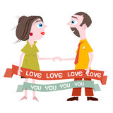 Man and Woman Holding Hands with Love You Title Royalty Free Stock Image