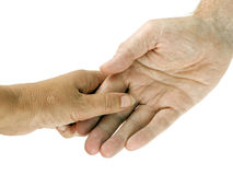 Man and woman holding hands over white Stock Images
