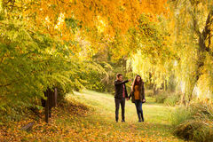 Man and woman holding hands walking  Royalty Free Stock Photography