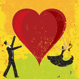 Man and woman holding a heart. A man and woman holding a large heart over an abstract background. The artwork and background are on separate labeled layers Stock Photos