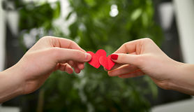 Man and woman holding hearts. Loving couple holding hearts crossing them together Royalty Free Stock Photos