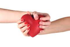 Man and woman holding red heart in hands Royalty Free Stock Image