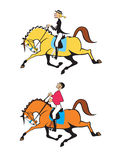 Man and woman horse riders. Horse riders,dressage,cartoon images isolated on white background,vector pictures Royalty Free Stock Photos
