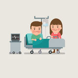 Man and woman in a hospital room. Woman standing on the side of a bed in a hospital room visiting a sick man with intravenous saline solution Stock Photo