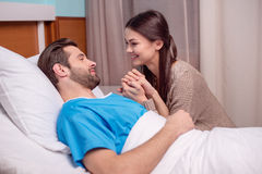 Man and woman in hospital royalty free stock photos
