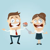 Man and woman with house and key. Illustration of a man and a woman with house and key Royalty Free Stock Photo