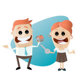 Man and woman with house and key. Illustration of a man and woman with house and key Stock Images