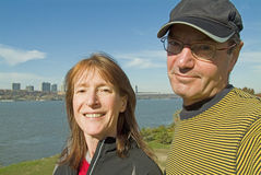 Man and woman with Hudson River background Royalty Free Stock Images
