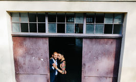 Man and woman hugging in the doorway Royalty Free Stock Images